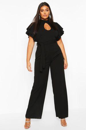 Boohoo Womens Plus Keyhole Angel Ruffle Sleeve Jumpsuit - - 12