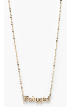 Boohoo Women Necklaces - Womens Baby Girl Slogan Necklace - - One Size