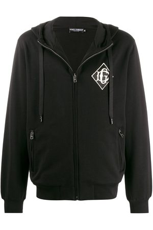 Dolce & Gabbana Men Hoodies - Embroidered logo zip-up hoodie