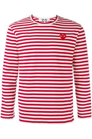 Comme des Garçons Men Tank Tops - Striped heart logo top