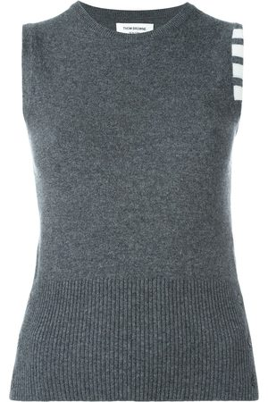 Thom Browne Sleeveless crew neck Shell Top With 4-Bar Stripe In Medium Grey Cashmere