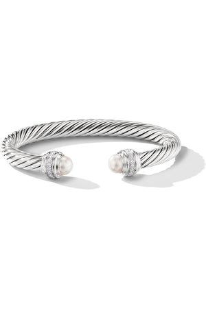 David Yurman Sterling silver Cable pearls and diamond 7mm cuff - SSDPEDI
