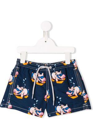 MC2 Saint Barth Kids Boys Swim Shorts - Pig print swim shorts