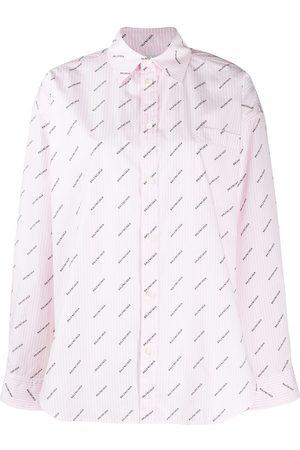 Balenciaga Women Shirts - Logo-printed masculine shirt