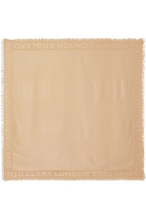 Burberry Scarves - Monogram Silk Wool Jacquard Large Square Scarf - Neutrals