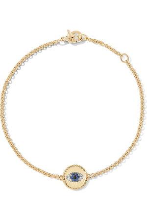 David Yurman 18kt yellow gold Cable Collectibles diamond and sapphire evil eye charm bracelet - 88ABSBDDI