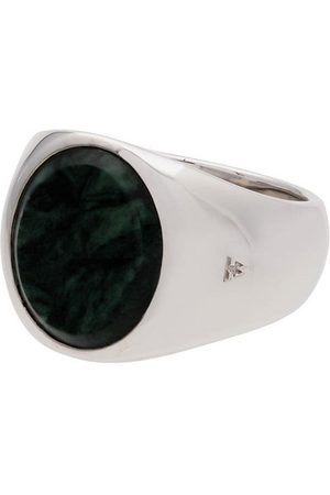 TOM WOOD Metallic oval green marble sterling ring