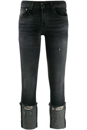 R13 Cropped and distressed skinny fit jeans