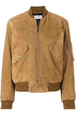 Saint Laurent Lambskin zip-up bomber jacket