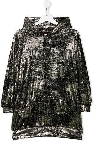 Le pandorine Girls Knitted Dresses - Velvet hooded dress