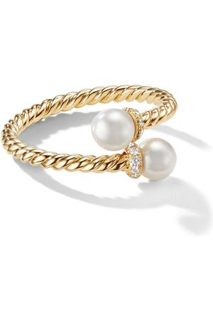 David Yurman 18kt yellow gold Petite Solari Bypass pearl and diamond ring - 88DKWDI