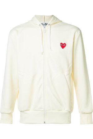 Comme Des Garçons Play Men Hoodies - Embroidered zipped hoodie