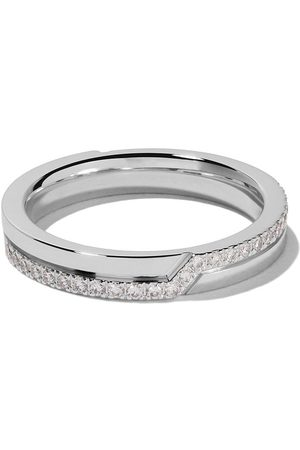 De Beers Jewellers 18kt Promise half pavé diamond band
