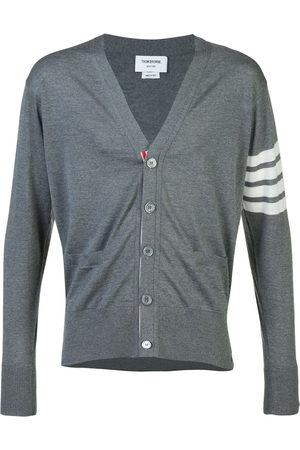 Thom Browne Men Cardigans - V-Neck Cardigan With 4-Bar Stripe In Medium Grey Merino