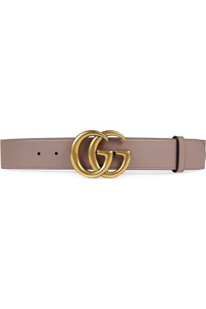 Gucci Women Belts - Leather belt with Double G buckle