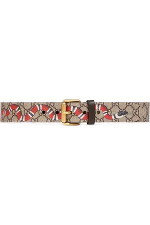 Gucci Snake print GG Supreme belt - Neutrals