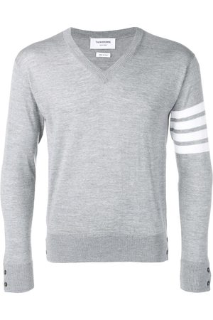 Thom Browne Fine merino wool V-neck jumper - Grey