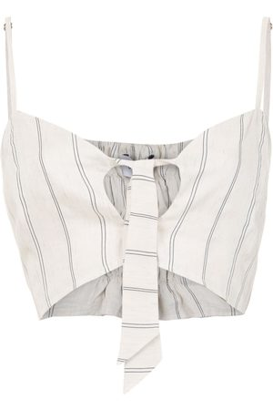 Olympiah Fiora linen cropped top