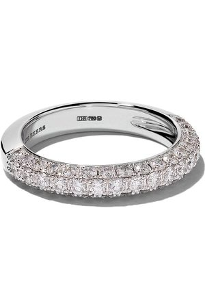 De Beers Jewellers 18kt DB Darling half pavé diamond large band