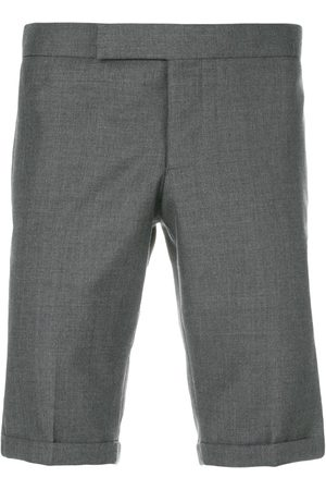 Thom Browne Engineered Striped Side Seam Solid Wool Twill Skinny Shorts - Grey