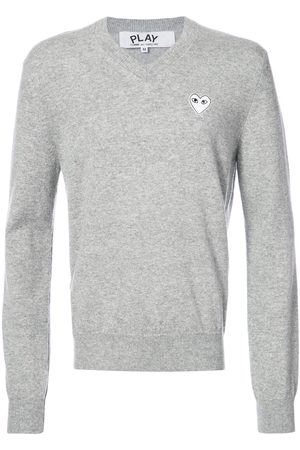 Comme des Garçons Men Sweaters - V-neck pullover with white heart - Grey