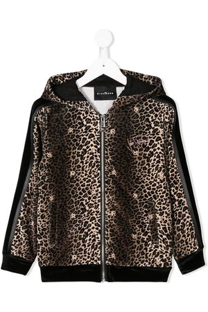 John Richmond Junior Leopard print zipped hoodie