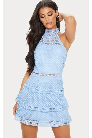 PRETTYLITTLETHING Women Bodycon Dresses - Raine Dusty Lace Panel Tiered Bodycon Dress