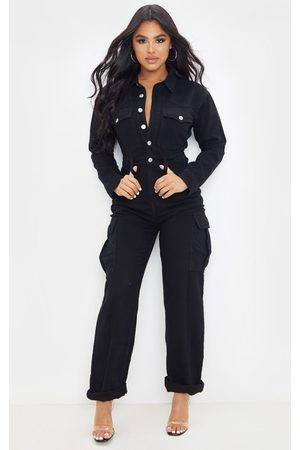 PRETTYLITTLETHING Petite Denim Wide Leg Jumpsuit