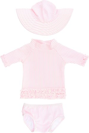 RuffleButts Toddler Girl's Seersucker Two-Piece Rashguard Swimsuit & Hat Set