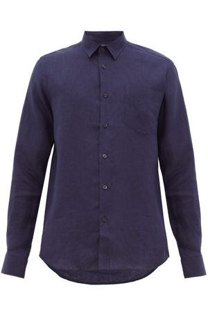 Vilebrequin Logo Embroidered Slubbed Linen Shirt - Mens - Navy