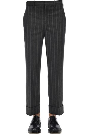 Neil Barrett Pinstriped Wide Leg Viscose Blend Pants