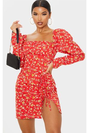 PRETTYLITTLETHING Ditsy Floral Bow Detail Side Split Bodycon Dress
