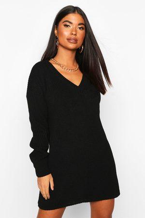 Boohoo Womens Petite Rib V-Neck Sweater Dress - - L