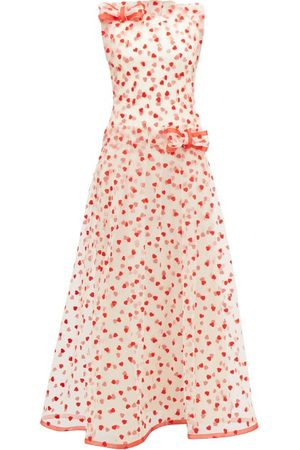 RODARTE Women Printed Dresses - Flocked Heart-pattern Tulle Maxi Dress - Womens - Multi