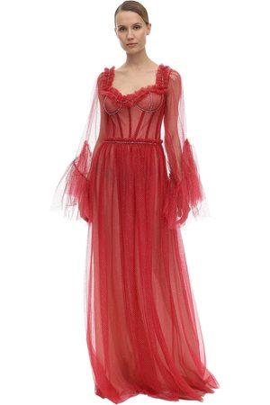 Sandra Mansour Women Midi Dresses - Glittered Tulle Midi Dress