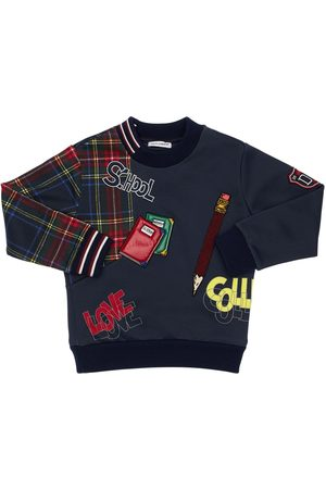 Dolce & Gabbana Boys Sweatshirts - Cotton Sweatshirt W/ Knit Inserts
