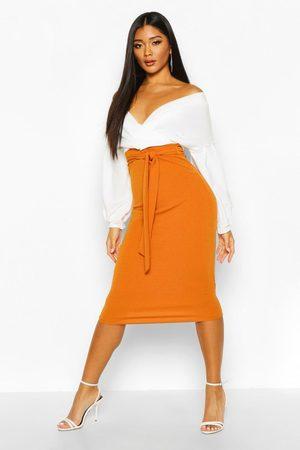 Boohoo Women Strapless Dresses - Womens Contrast Off Shoulder Wrap Midi Dress - - 2