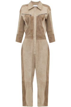 Raey - Patchwork Suede Jumpsuit - Womens - Grey Multi