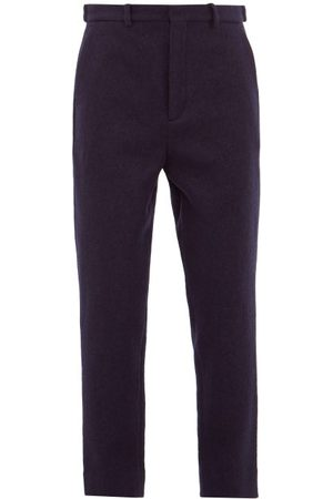 Raey Tapered Leg Boiled Wool Trousers - Mens - Navy