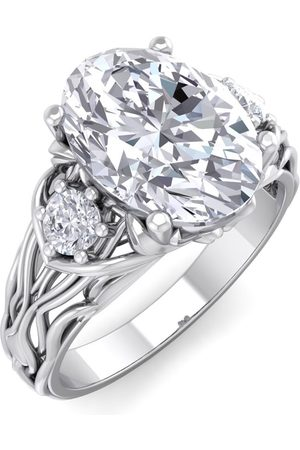 SuperJeweler 3 1/5 Carat Oval Shape Diamond Intricate Vine Engagement Ring in 14K (5.80 g) (