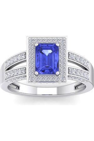 SuperJeweler 1 3/4 Carat Emerald Cut Tanzanite & Halo 74 Diamond Ring in 14K (5.60 g)