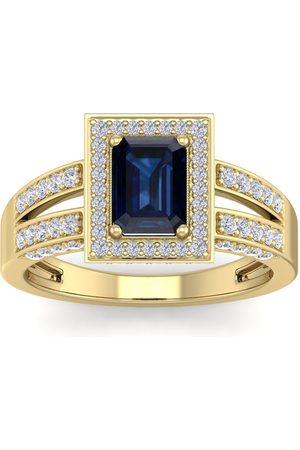 SuperJeweler 1 3/4 Carat Emerald Cut Sapphire & Halo 74 Diamond Ring in 14K (5.60 g)