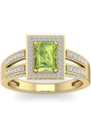 SuperJeweler 1 3/4 Carat Emerald Cut Peridot & Halo 74 Diamond Ring in 14K (5.60 g)