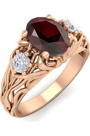 SuperJeweler 1 1/5 Carat Oval Shape Garnet & Diamond Intricate Vine Engagement Ring in 14K (5.50 g)