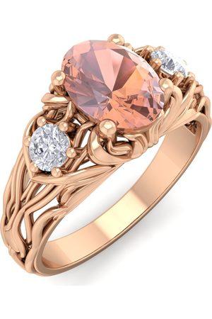 SuperJeweler 1 Carat Oval Shape Morganite & Diamond Intricate Vine Engagement Ring in 14K (5.50 g)