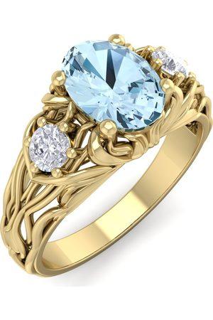 SuperJeweler 1 Carat Oval Shape Aquamarine & Diamond Intricate Vine Engagement Ring in 14K (5.50 g)