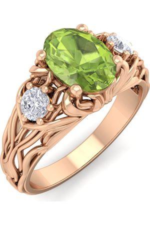 SuperJeweler 1 1/10 Carat Oval Shape Peridot & Diamond Intricate Vine Engagement Ring in 14K (5.50 g)