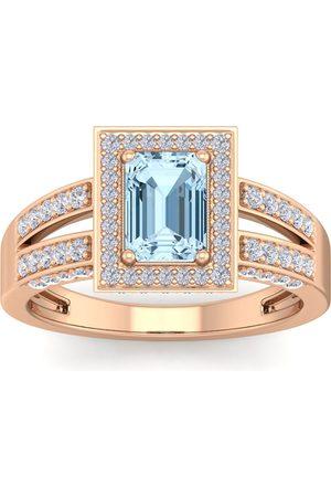 SuperJeweler 1.5 Carat Emerald Cut Aquamarine & Halo 74 Diamond Ring in 14K (5.60 g)