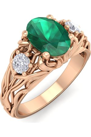 SuperJeweler 1 Carat Oval Shape Emerald Cut & Diamond Intricate Vine Engagement Ring in 14K (5.50 g)