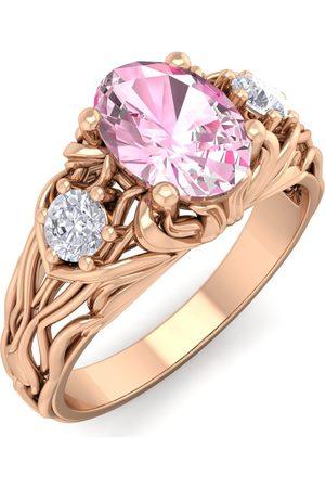 SuperJeweler 1 Carat Oval Shape Pink Topaz & Diamond Intricate Vine Engagement Ring in 14K (5.50 g)